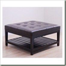 Overstock $230 (32x32) 16.5 Hudson Dark Brown Leather Ottoman