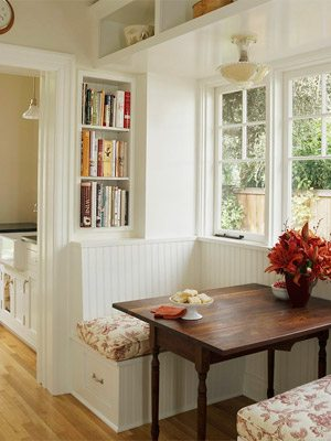 small two seat white banquette