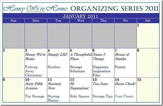 Calendar HWH Organizing Series