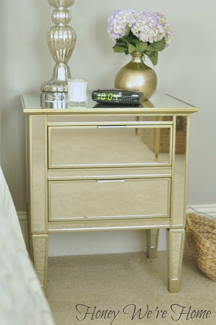 master bedroom update (mirrored nightstands) | honey we're home Master Bedroom Nightstands