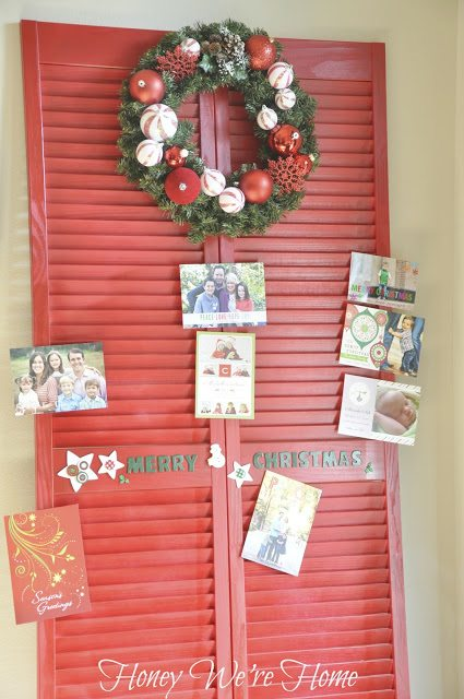 ... On A Festive Red Shutter Door That I Turned Into A Card Holder. Head On  Over To Jenu0027s Blog, I Heart Organizing To See How I Made It (and The Wreath )!