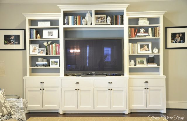 ... Built In Media Cabinet In The Living Room With Lots Of Storage. Itu0027s  Got Four Deep Drawers And Four Cabinets With Double Shelves.