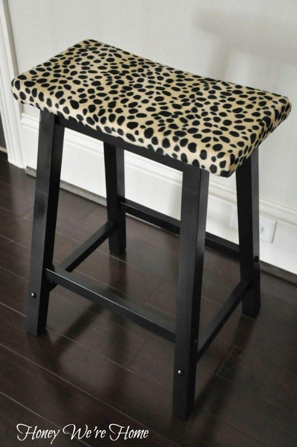 Leopard Print Stool Makeover Honey We Re Home