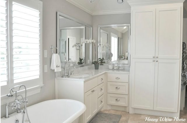 agreeable gray bathroom. full post HERE Paint Colors in Our Home  Honey We re