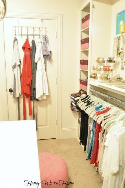 On The Back Of My Closet Door Hangs My Robes And A Swimsuit (wishful  Thinking!). There Are Seven Cubbies To The Right For Extra Storage.