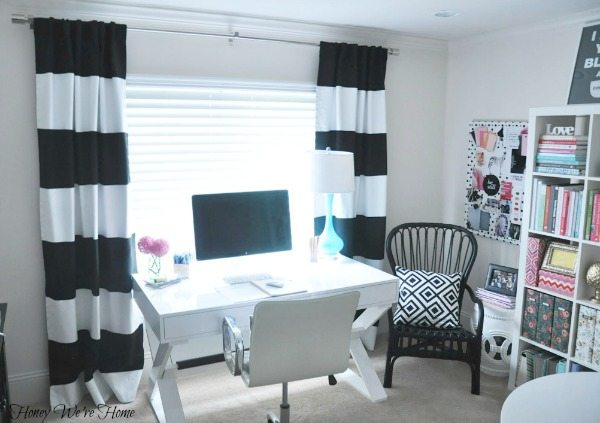 ... It Turned Out Pretty Well. (Thanks To My Instagram Friends For  Encouraging Me On!) Here Are My Newly Painted Striped Curtains Hanging In  My Office.