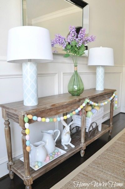 Easter spring decor in the dining room honey we 39 re home for Easter decorations ideas for the home