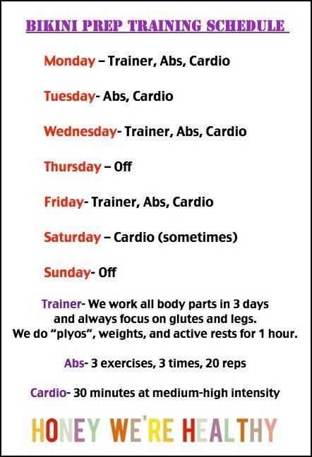 Bikini Contest Prep Training Schedule 14 Weeks Out