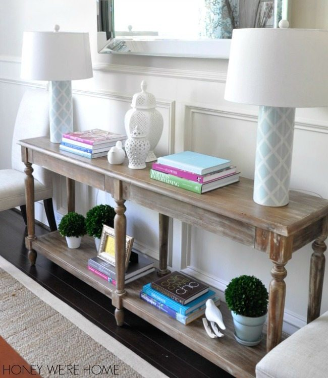 springy dining room // world market foyer table | honey we're home