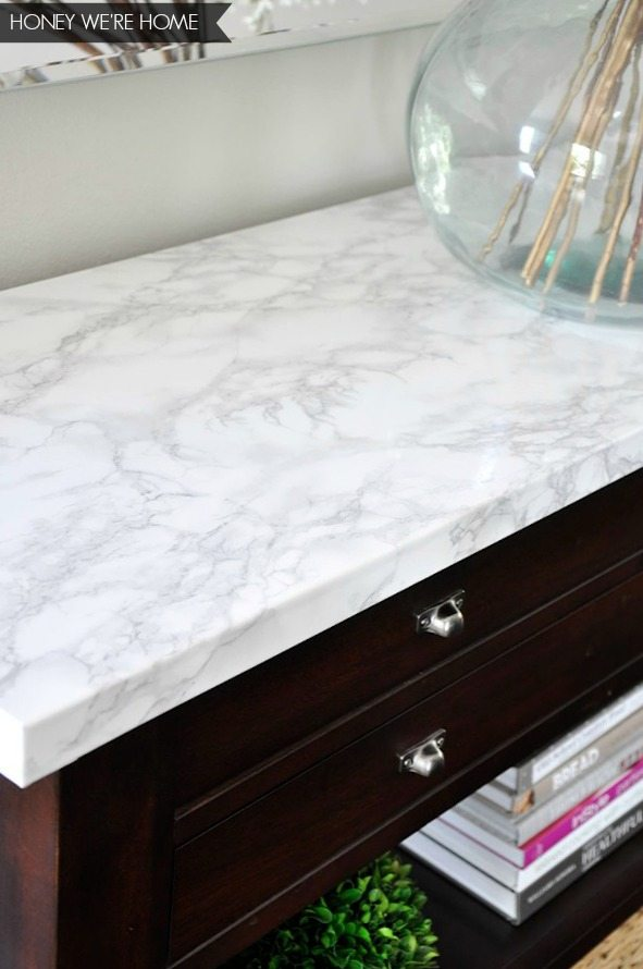 Faux Marble Console Makeover Honey Were Home