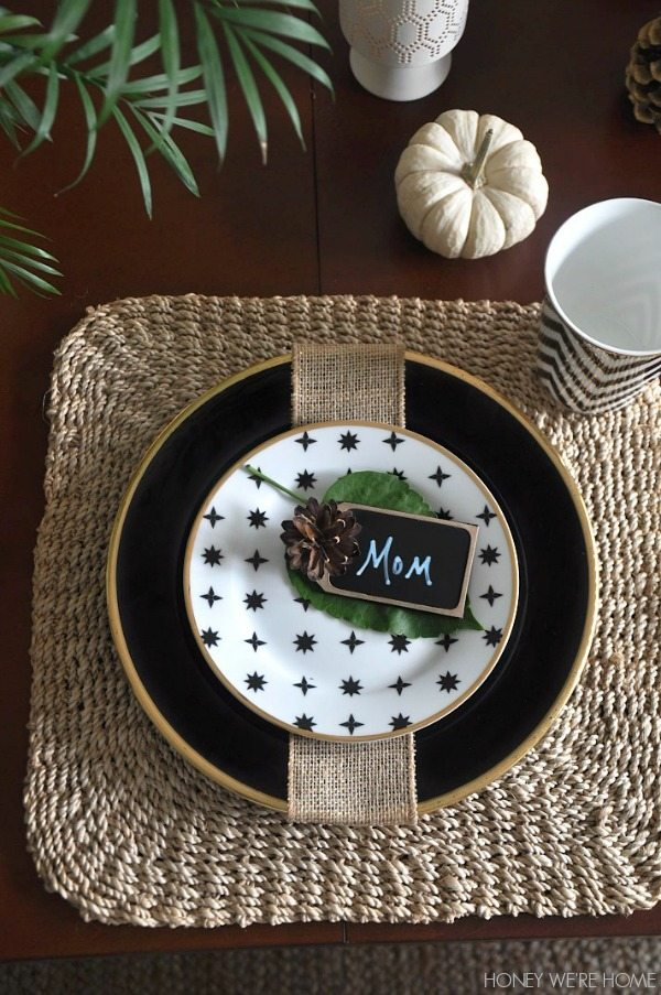 Thanksgiving holiday table ideas - black + white + gold