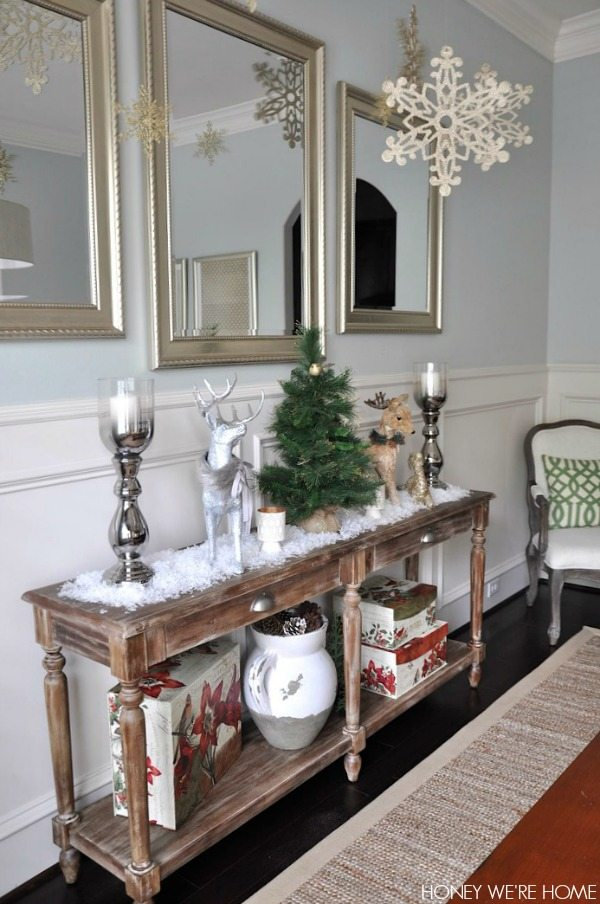 The Inspiration For A Snowing Dining Room Came From Wal Mart Where I Found Large Gold Glittery Snowflakes 2 97 Each To Hang Them Ceiling