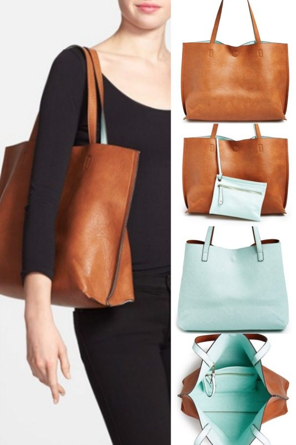 14f7dcb4fb Street Level Reversible Vegan Leather Tote & Wristlet $48 (other color  combos)