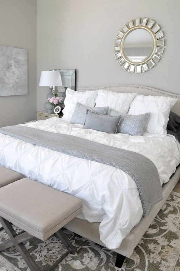 Neutral Master Bedroom, White Bedding With Neutral Rug Grey Accents,  Abstract Art ...