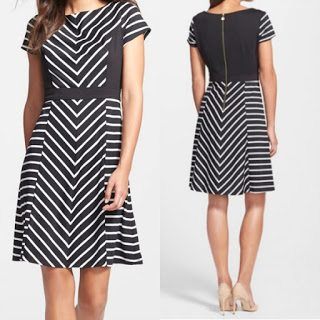Ellen Tracy Stripe Fit & Flare Dress