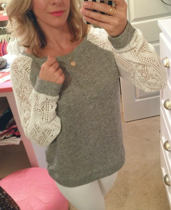 Weekend Steals & Deals   lace sleeve sweater