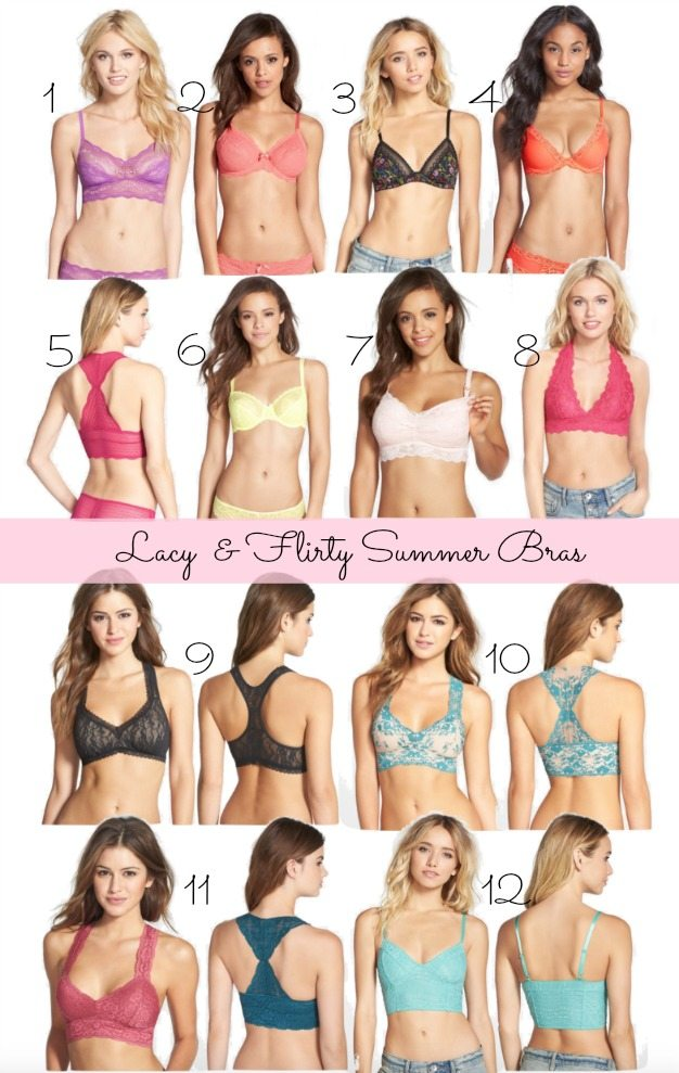 Colorful lace bras for summer outfits