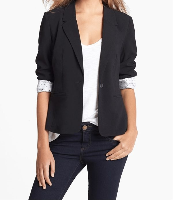Spring - Summer style - Kensie Stretch Crepe Blazer with dot print lining
