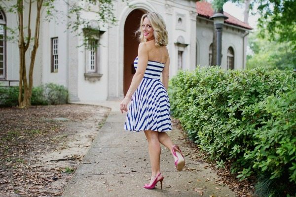 Summer Fashion - striped dress with pink heels