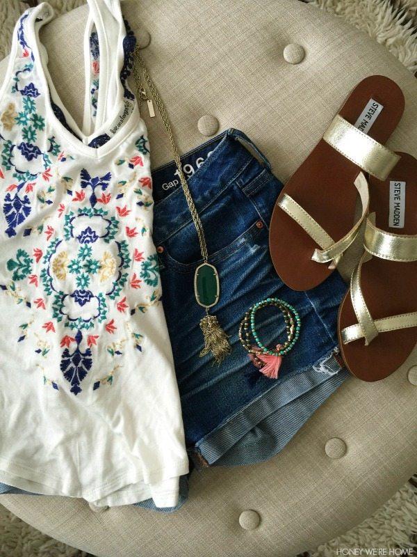 Summer Uniform - jean shorts, tank, sandals