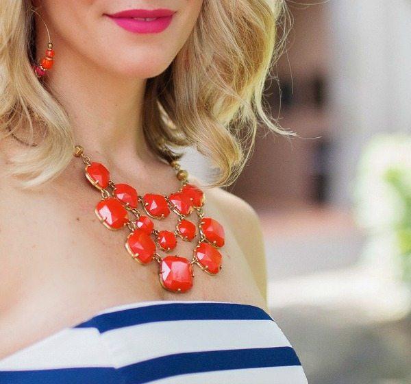 Summer Fashion - orange statement necklace