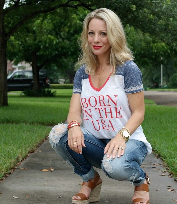 Summer Fashion - distressed jeans - Born in the USA Tee
