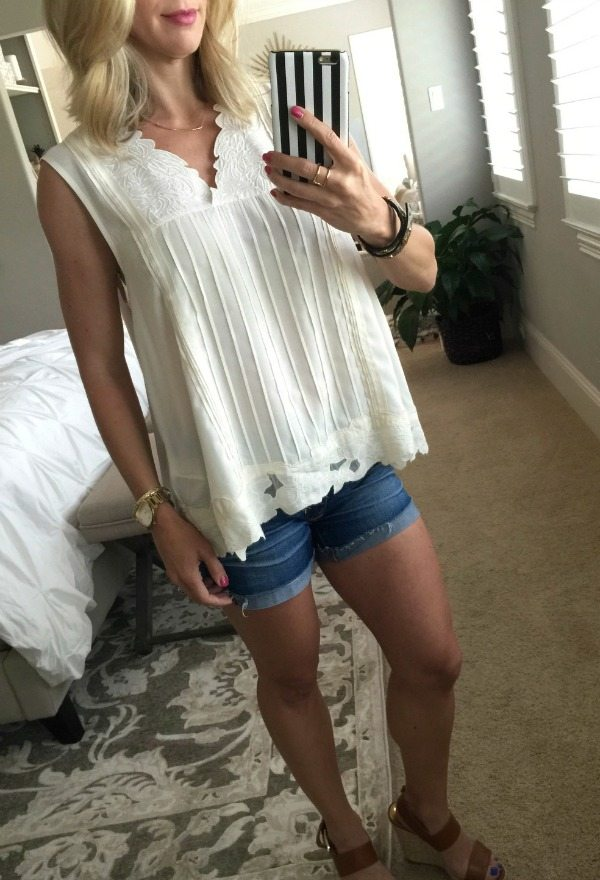 Summer Outfit - Floral Embroidery Top and Jean Shorts