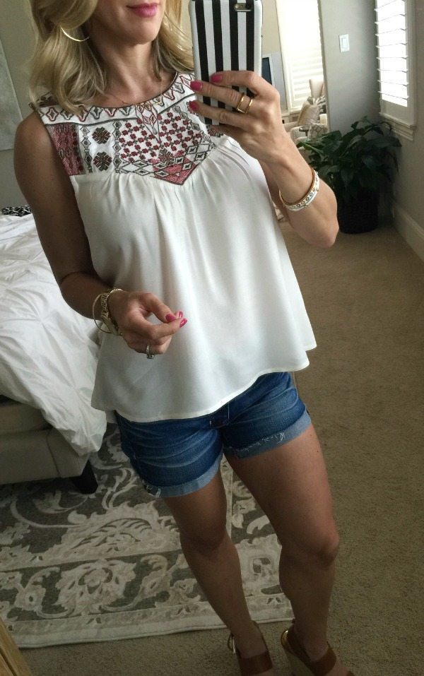 Summer Outfit - Embroidery Top and Jean Shorts
