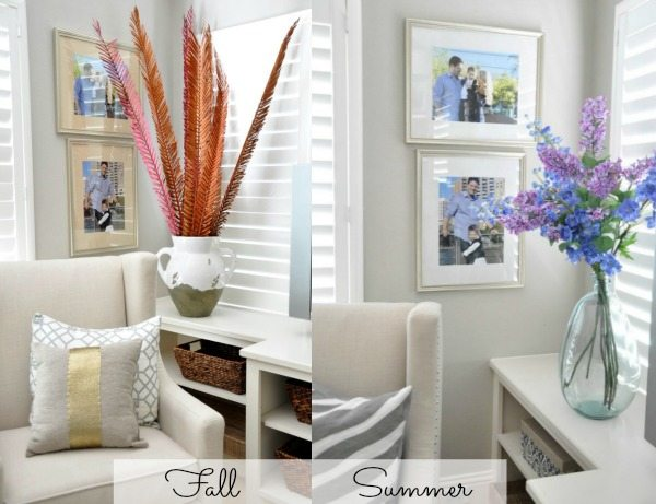 Fall vs. Summer decor - easy updates by just switching out branches and pillows
