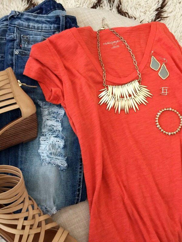 Summer Fashion - Rocksbox jewelry + distressed skinny jeans + Halogen slub tee