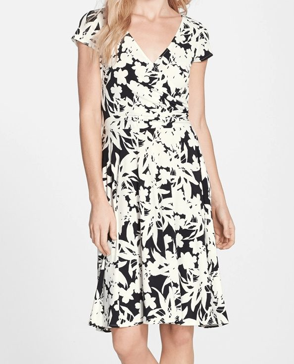 Maggy London Print Faux Wrap Dress