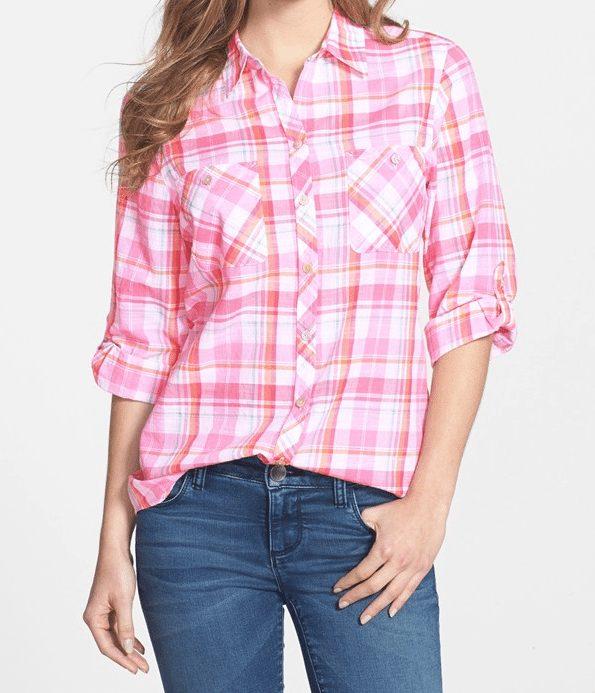 Foxcroft Madras Plaid Cotton Shirt