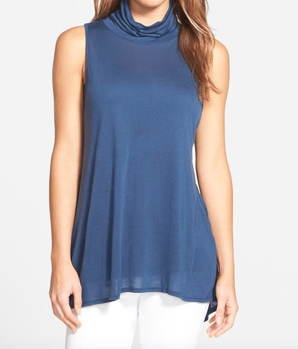 Summer Fashion - Slouchy Turtleneck Knit Tank