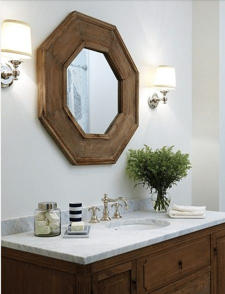 bathroom decor - wood + marble