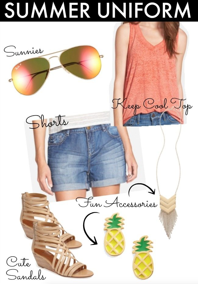 Summer Uniform = Shorts + Tank/Tee + Sandals + Accessories + Sunglasses
