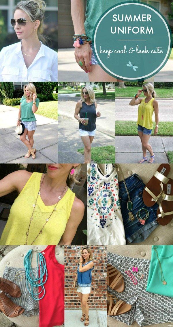 Summer Uniform = Shorts + Tank/Tee + Sandals + Accessories + Sunglasses