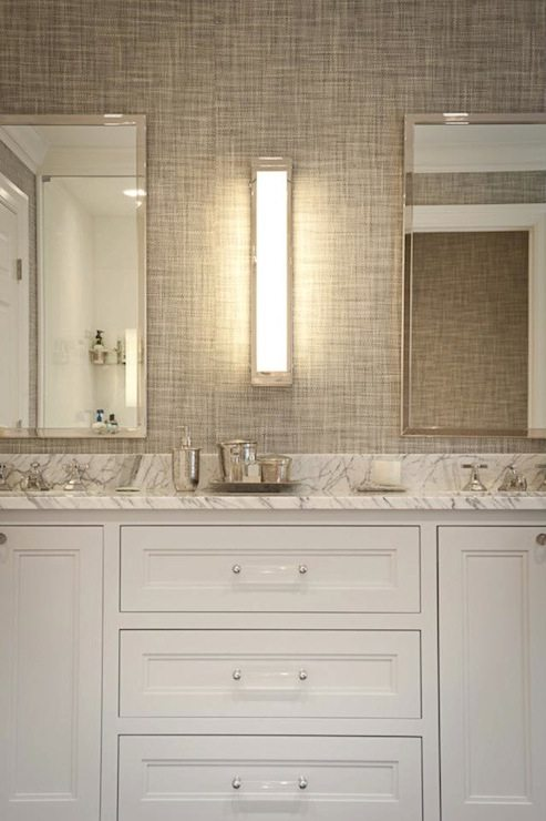 Grasscloth in the bathroom