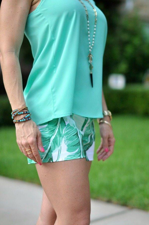 Summer Fashion - swing tank + palm leaf shorts