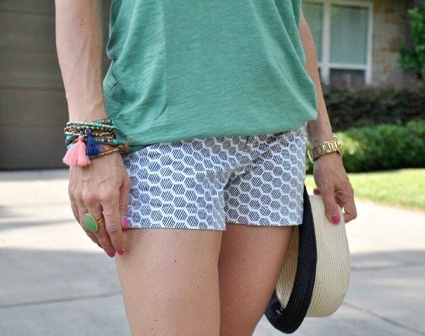 Summer Uniform - Halogen Tee and Caslon Shorts - wrap bracelets