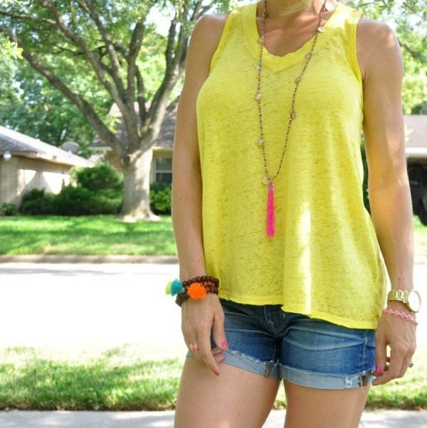 Summer Uniform - Jean Shorts and Colorful Tank Top