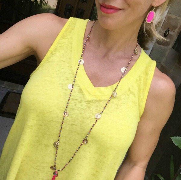 Summer Uniform - Kendra Scott Earrings and Coin Tassel Necklace