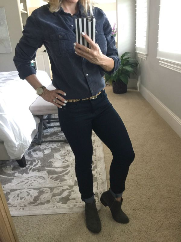 Fall fashion - Halogen Long Sleeve Chambray shirt, Lucky Brand Betwixt Bootie, Gorjana jewelry