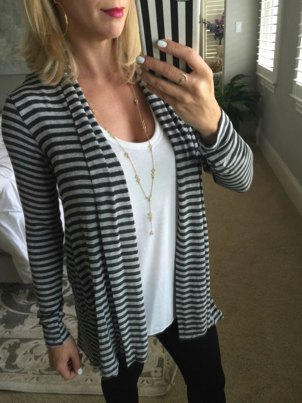 Fall fashion - Bobeau long cardigan - House of Harlow Long Y-Necklace, Crescent and Star ring