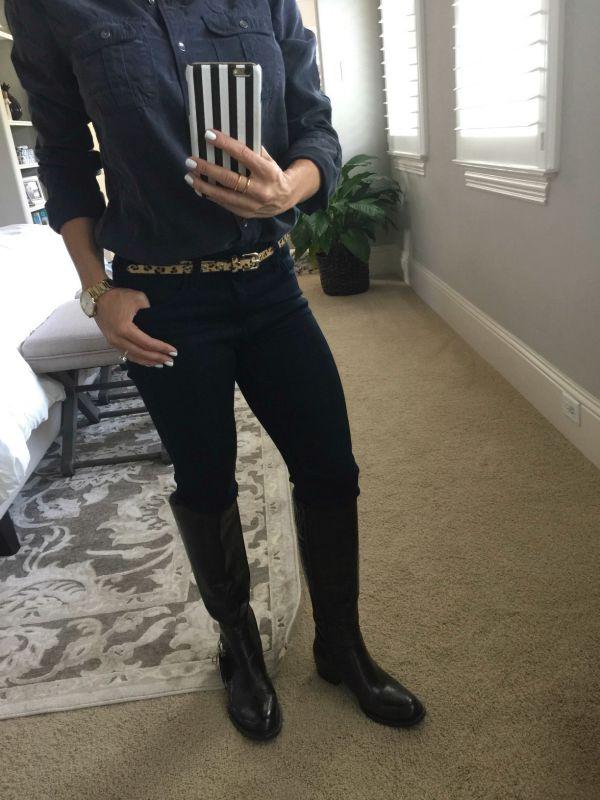 Fall fashion - Halogen Long Sleeve Chambray shirt, Born Helen Boots, Gorjana jewelry