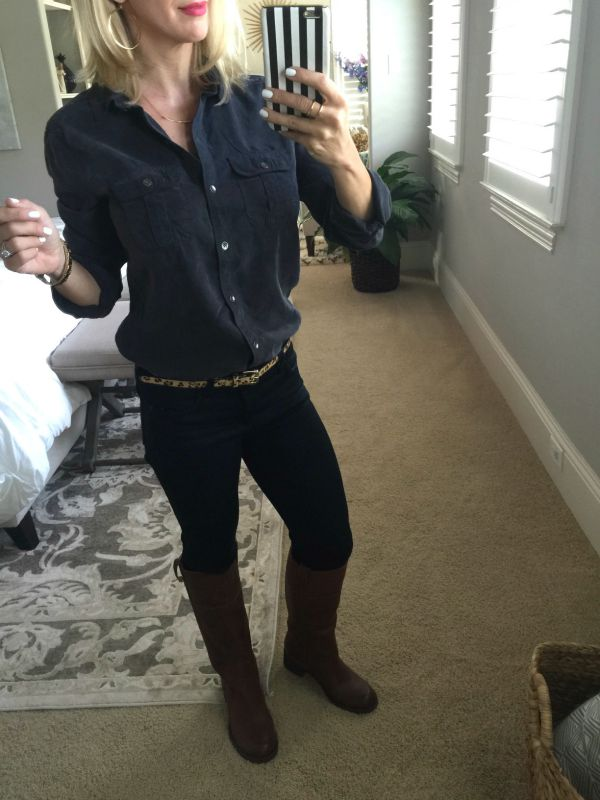 Fall fashion - Halogen Long Sleeve Chambray shirt, Lucky Brand Heloisse Boots, Gorjana jewelry