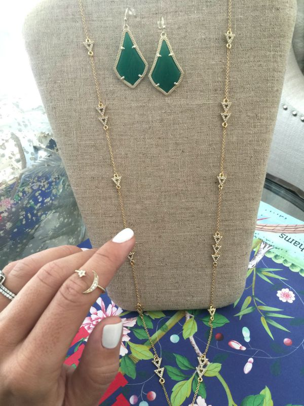Rocksbox- use code HONEYWEREHOMEXOXO for 1st month free - Fall fashion - House of Harlow Long Y-Necklace, Crescent and Star ring, Kendra Scott earrings