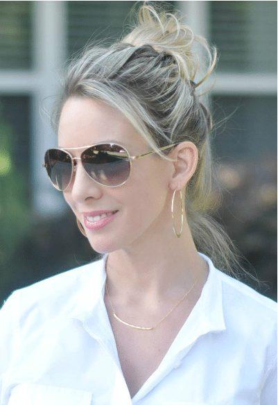Gorjana Tanner Bar Small Pendant Necklace + Bebe Aviator Sunglasses