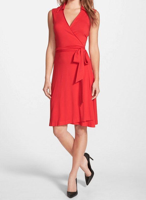 Vince Camuto Sleeveless Wrap Jersey Dress