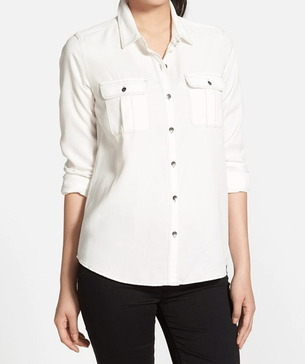 Fall Fashion -white Halogen denim shirt