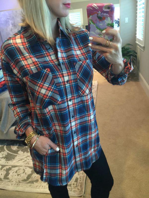 Fall Fashion - plaid boyfriend shirt, skinny jeans, wedge booties